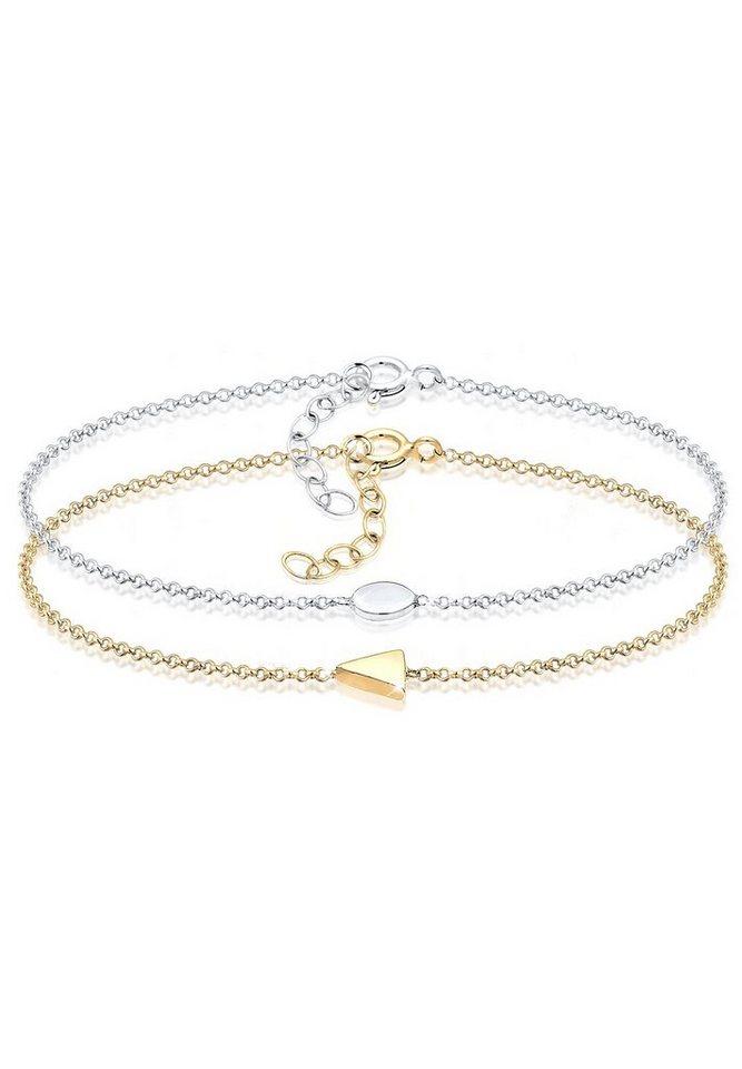 Elli Armband »Dreieck Kreis Bi-Color Geo Look Trend 925er Silber ... 76e54edf6c