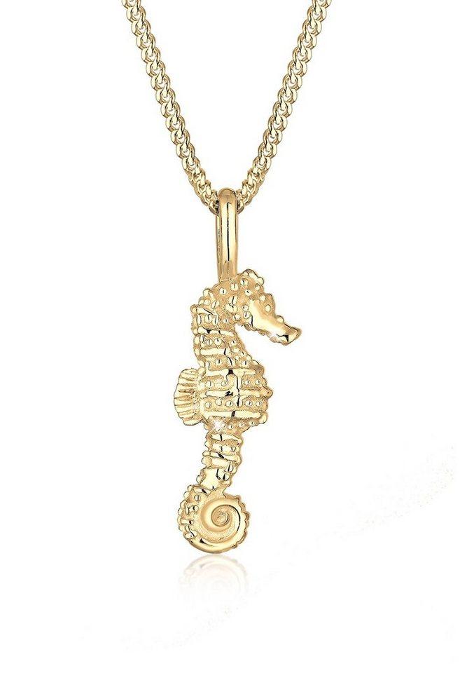 Elli Halskette »Seepferdchen Maritim 925 Silber vergoldet« in Gold