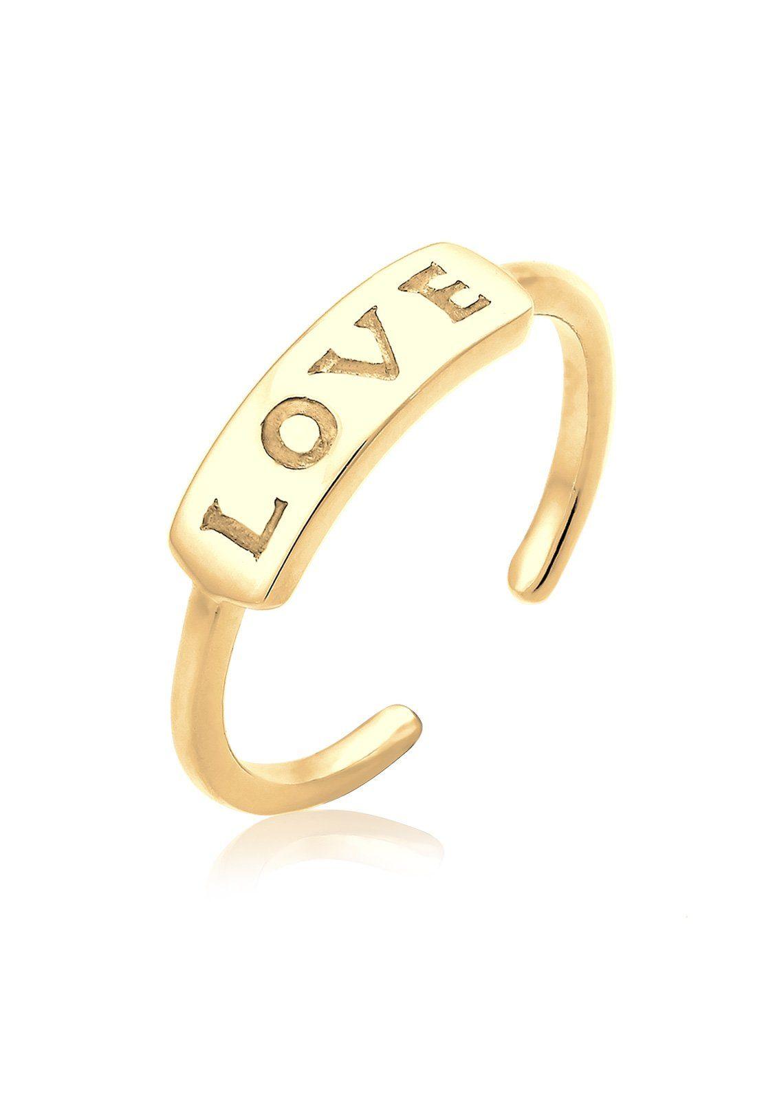 Elli Ring »Love-Schriftzug Statement Silber vergoldet«