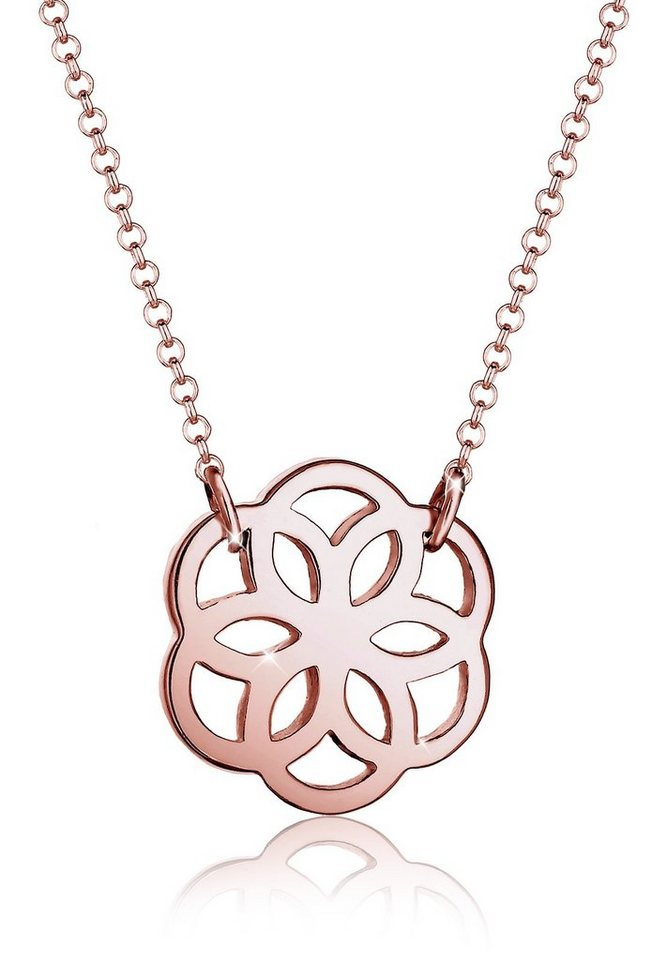 Elli Halskette »Blume Floral 925 Silber rosé vergoldet« in Rosegold