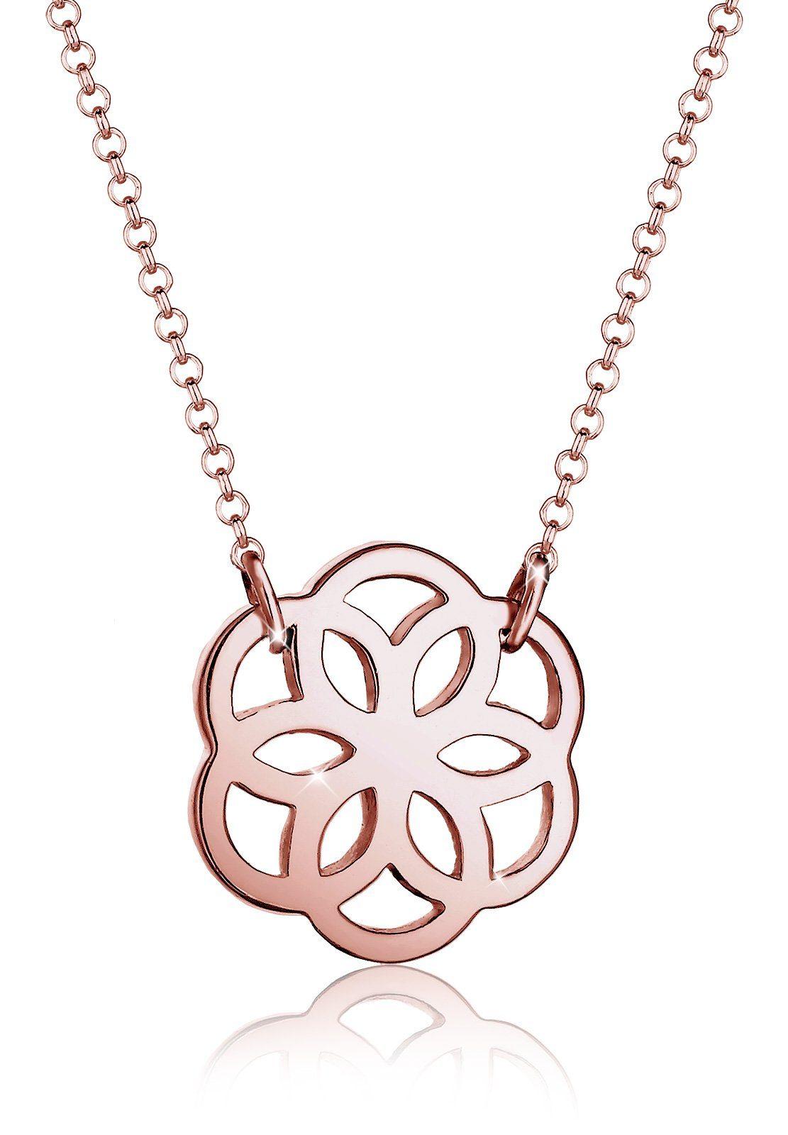 Elli Halskette »Blume Floral 925 Silber rosé vergoldet«