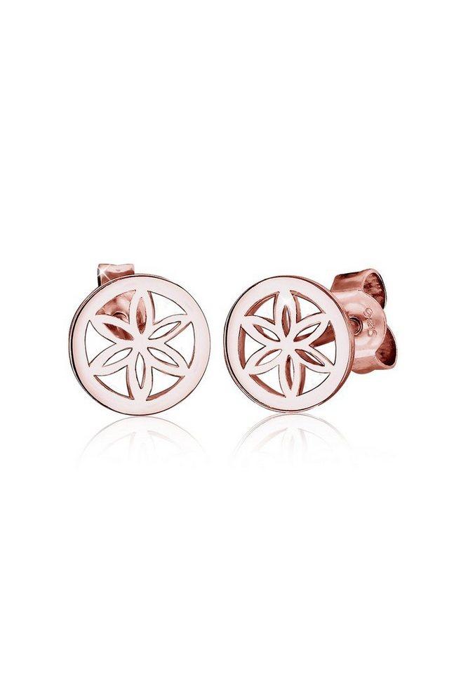 Elli Ohrringe »Blume Ornament Filigran 925 Silber rosé vergoldet« in Rosegold