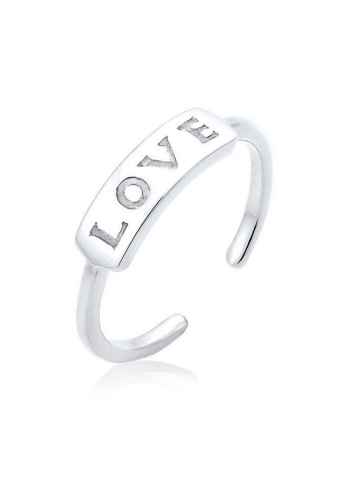 Elli Ring »Love-Schriftzug Statement 925 Silber« in Silber