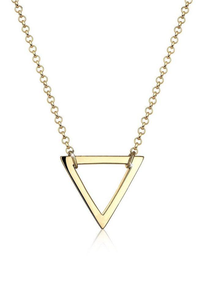 Elli Halskette »Dreieck Geo 925 Silber vergoldet« in Gold