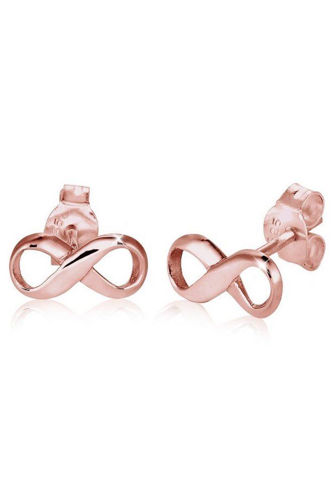 Elli Ohrringe »Infinity Unendlichkeit Symbol Liebe rosé vergoldet« in Rosegold
