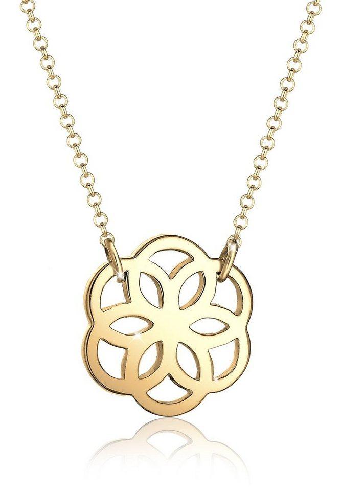 Elli Halskette »Blume Floral 925 Silber vergoldet« in Gold