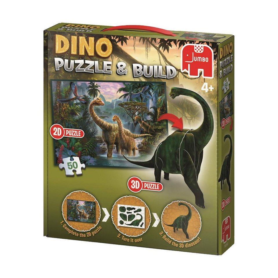 Jumbo Dinosaurier Puzzle & Build 2D-3D - 50 Teile