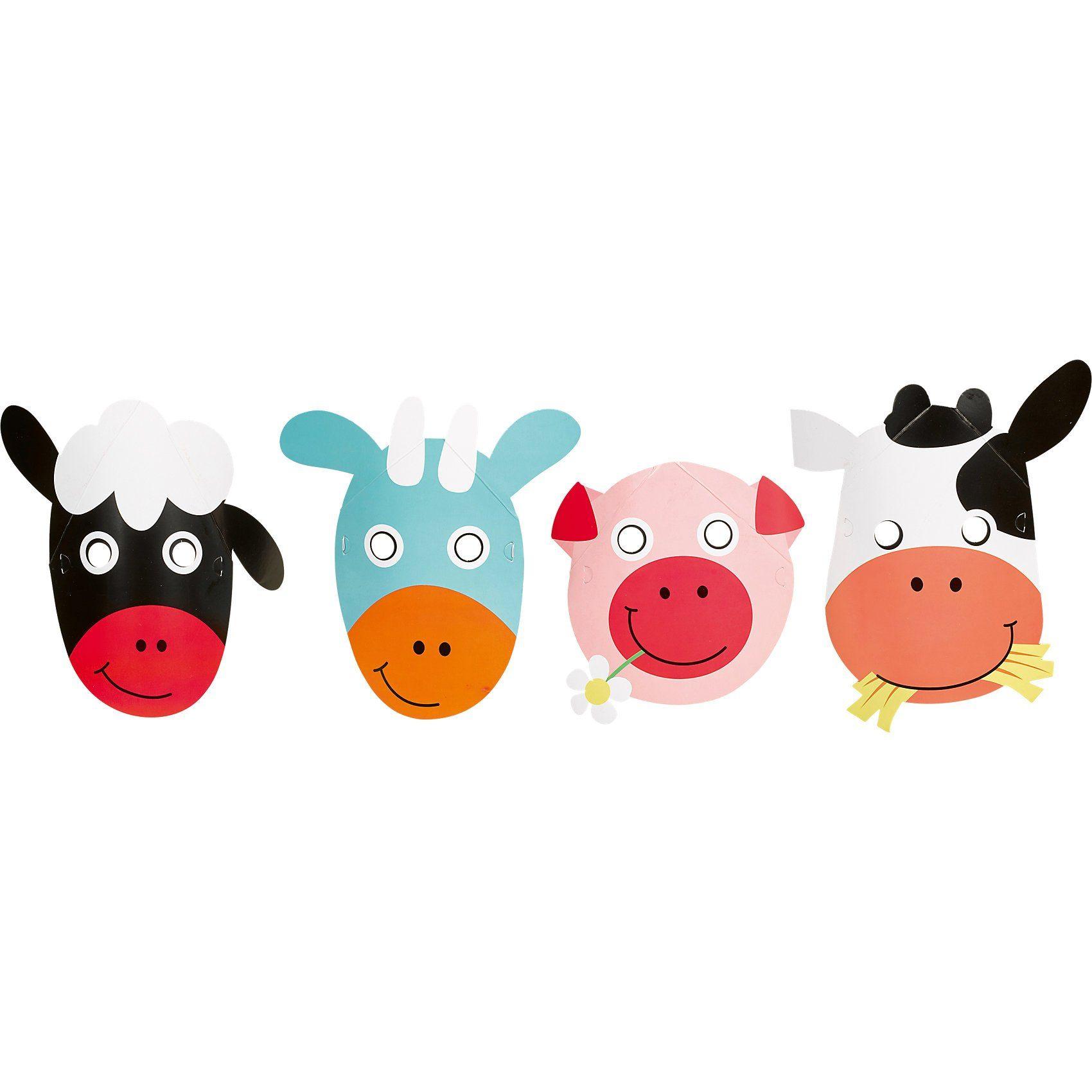 Amscan Masken Farm Fun, 8 Stück