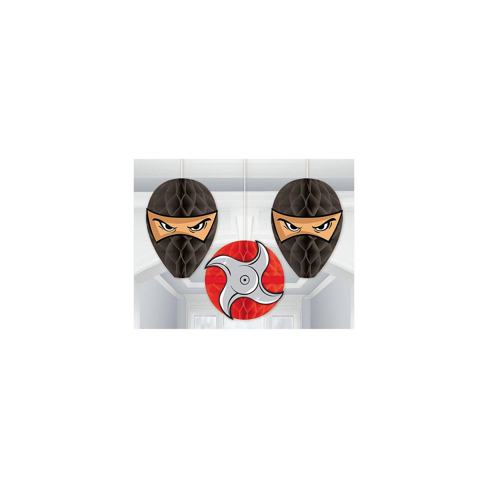 Amscan Wabendekoration Ninja, 3 Stück