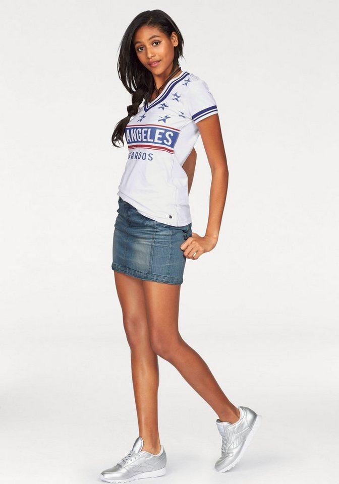 KangaROOS T-Shirt mit V-Ausschnitt und Print in weiß