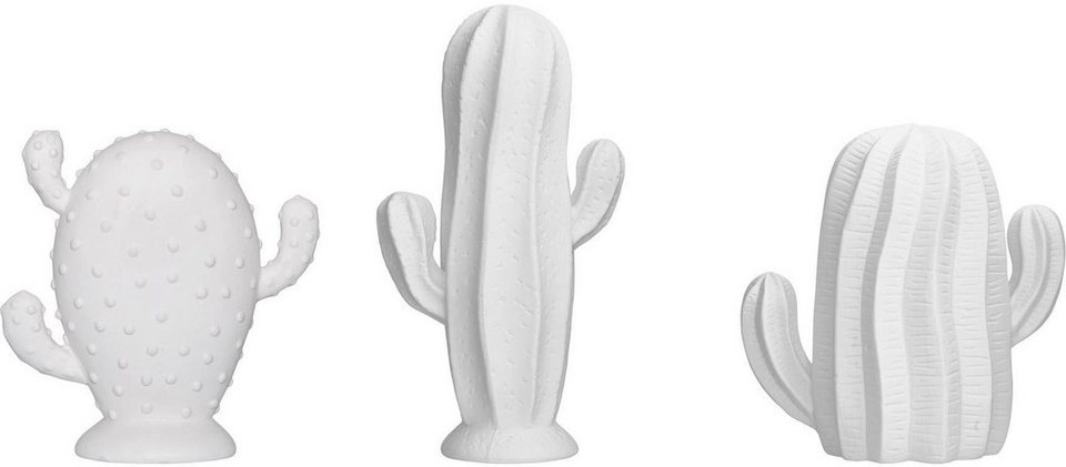 Bloomingville Dekoobjekt »Kaktus« (3-tlg.) in weiß