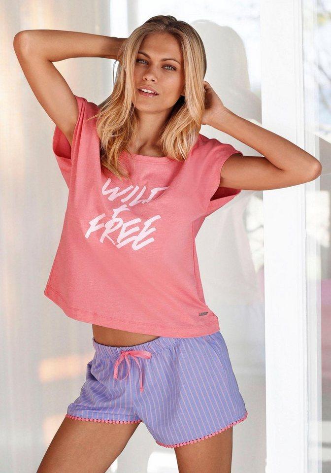 Buffalo Legerer Shorty mit Frontprint »Wild & Free« in pink meliert/hellblau gestreift