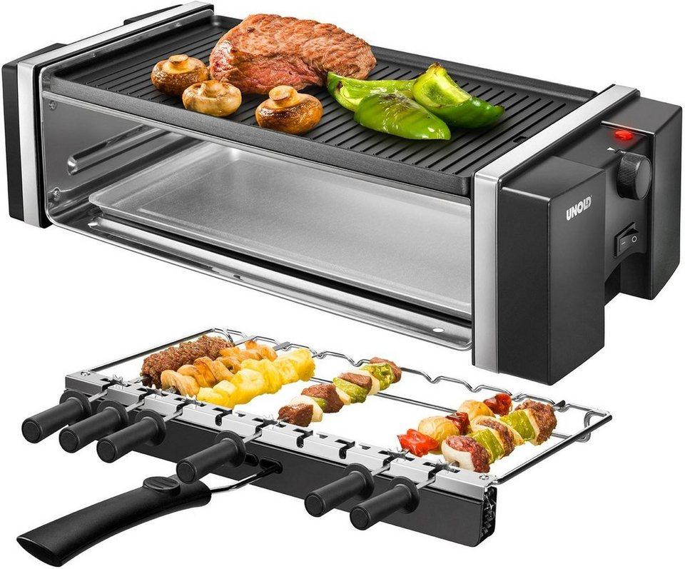 Unold Grill 58515, mit Drehspießen für Kebab, antihaftbeschichtet, 1200 Watt in Schwarz/Edelstahl