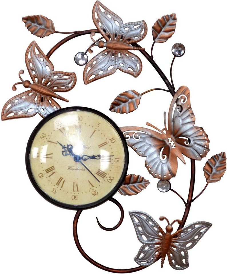 Home affaire Wanduhr »Schmetterling« in bunt/schwarz