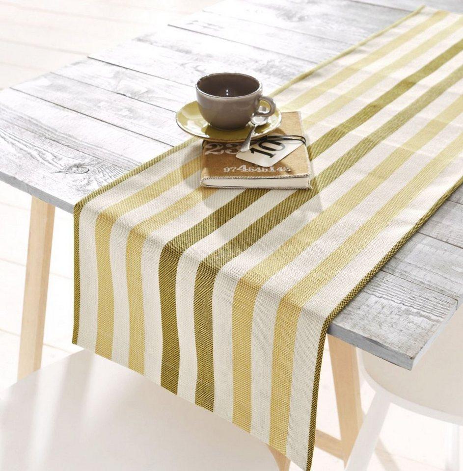 Hossner Tischdecke mit Streifen in ocker/creme