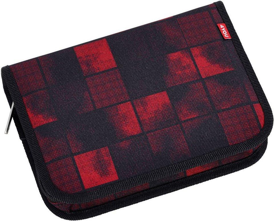 4YOU Mäppchen ungefüllt, Jump Squares red/black, »Etui XXL«