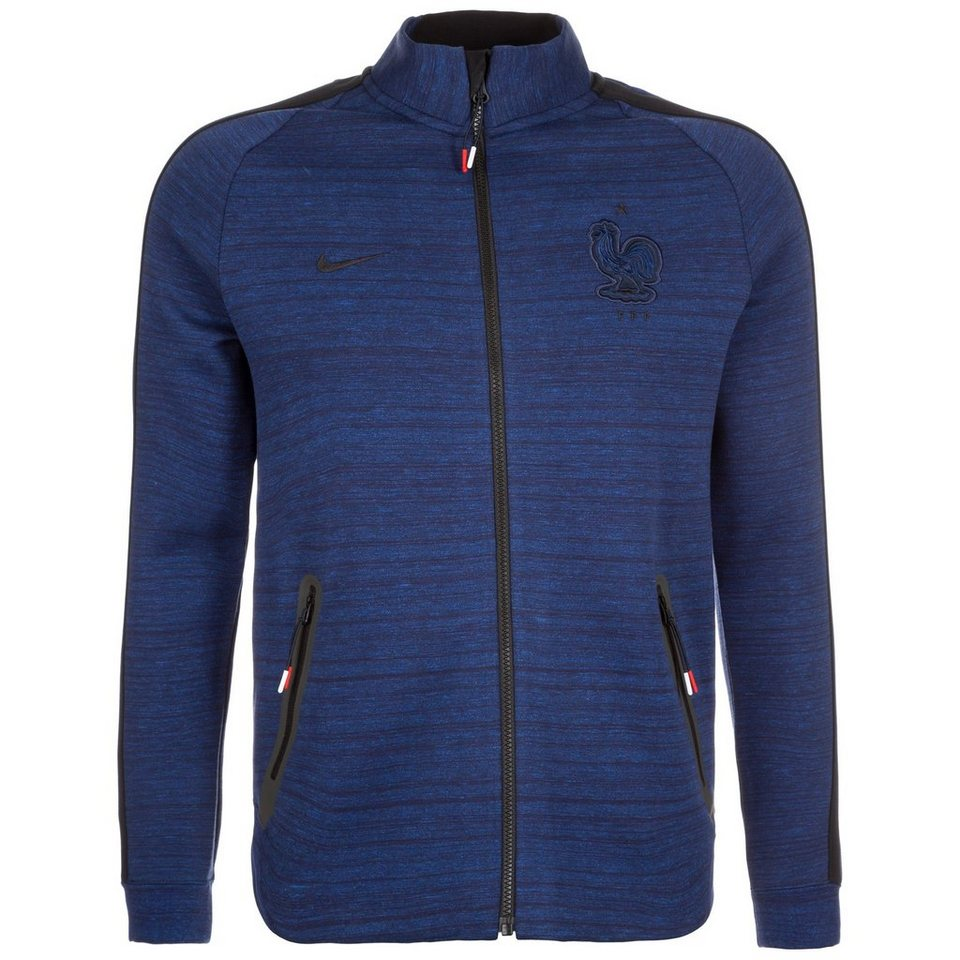NIKE Frankreich N98 Tech Fleece Trainingsjacke EM 2016 Herren in dunkelblau / schwarz