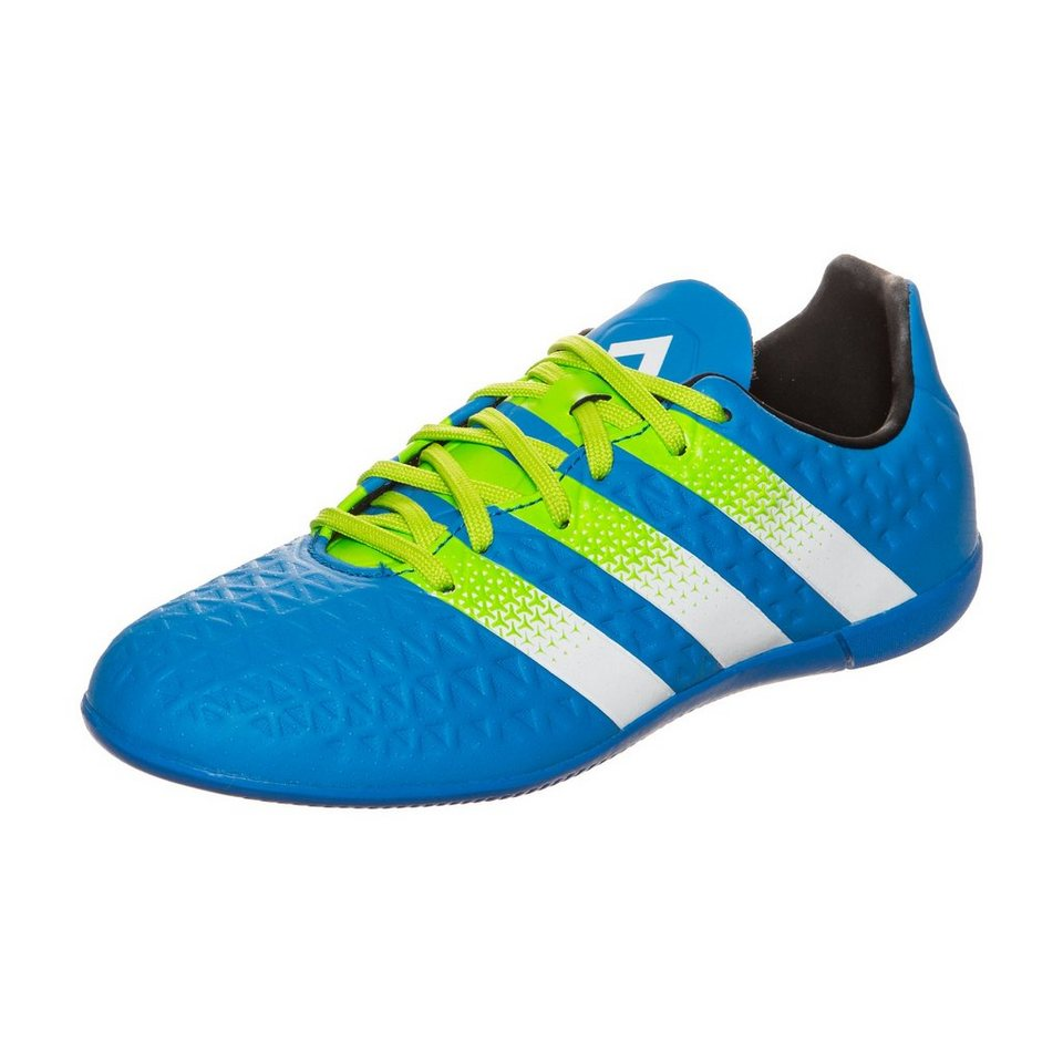 adidas Performance ACE 16.3 Indoor Fußballschuh Kinder in blau / lime / weiß