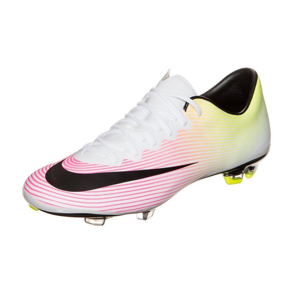 NIKE Mercurial Vapor X FG Fußballschuh Kinder in weiß / schwarz / gel