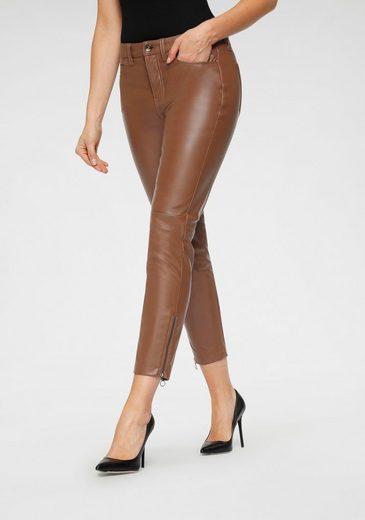 MAC Ankle-Jeans »Slim Leather« In elastischem Lederimitat mit typischer Beinnaht