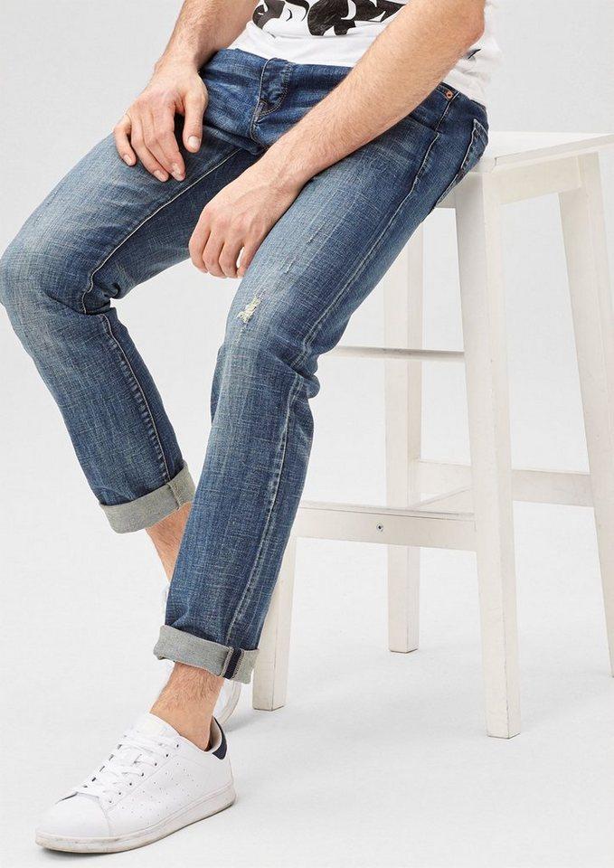 s.Oliver Denim Rick Slim: Jeans mit Destroyes in caribbean sea