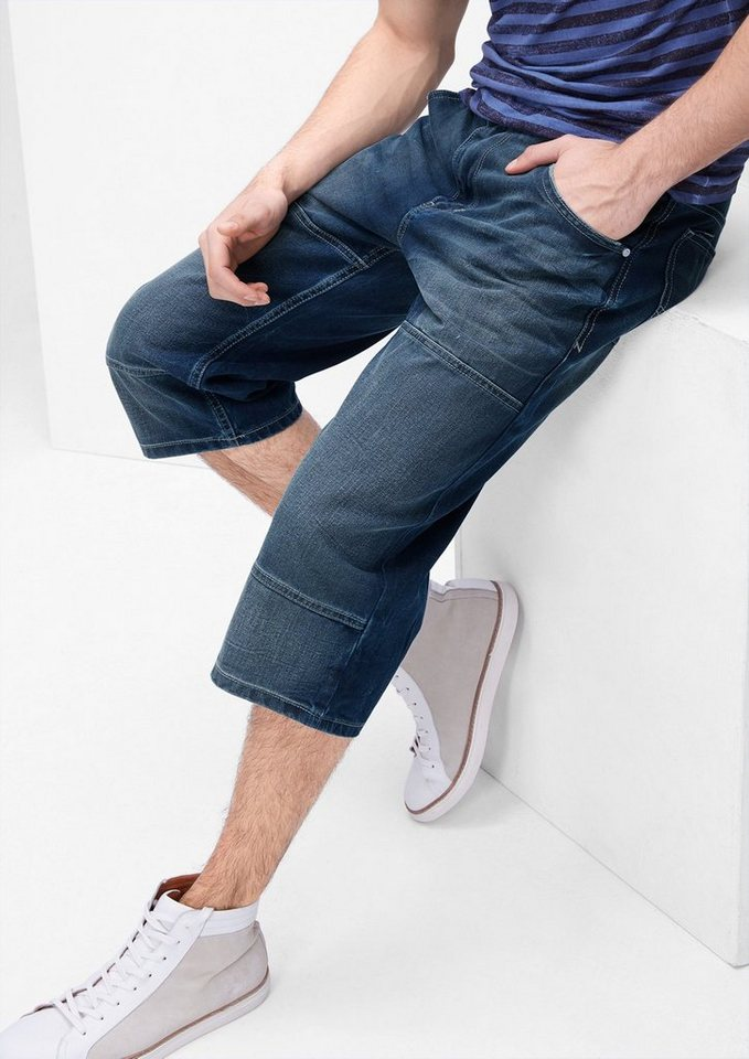 s.Oliver RED LABEL Scube Relaxed: Bermuda mit Abnähern in blue denim non stret