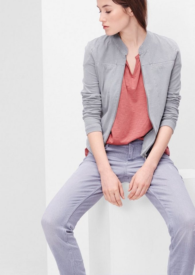 s.Oliver RED LABEL Jersey-Blazer mit Reißverschluss in soft grey