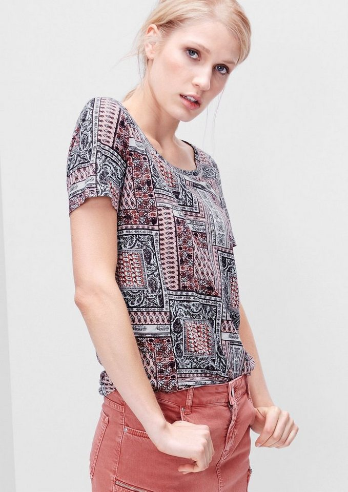 s.Oliver RED LABEL Mustershirt aus Leinen-Mix in light rose AOP