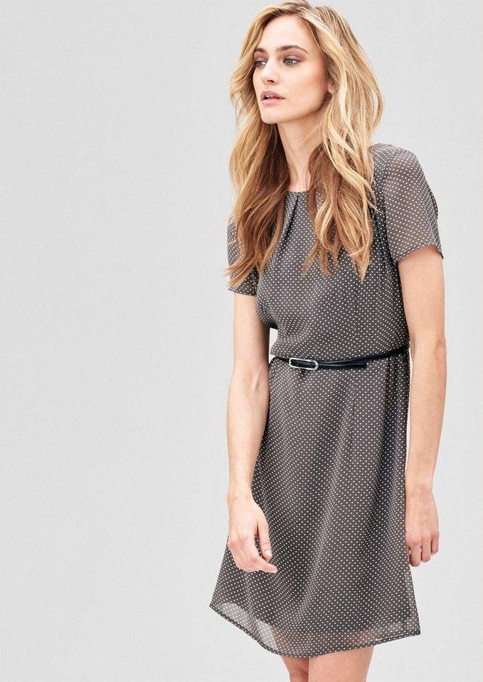 s.Oliver PREMIUM Schwingendes Kleid mit Gürtel in dark grey
