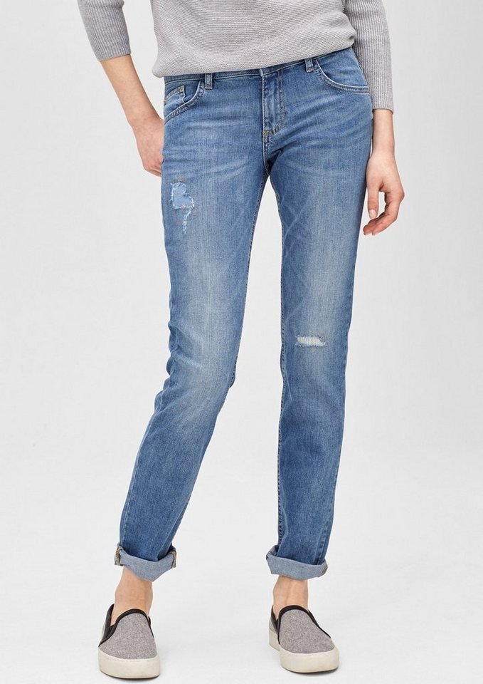 s.Oliver RED LABEL Shape Slim: Destroyed-Jeans in amparo blue denim st