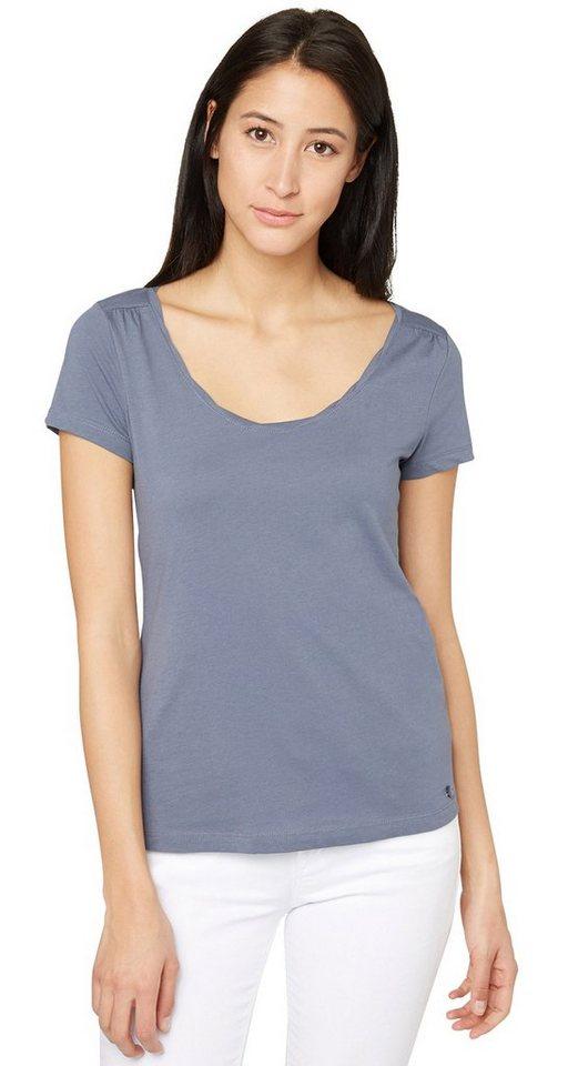 TOM TAILOR T-Shirt »T-Shirt mit femininer Raffung« in steal blue