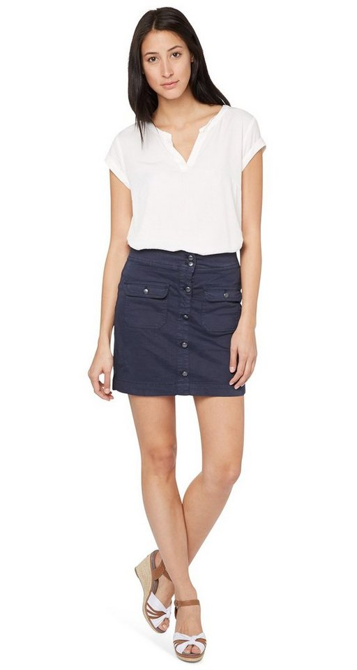 TOM TAILOR Rock »button front skirt« in real navy blue