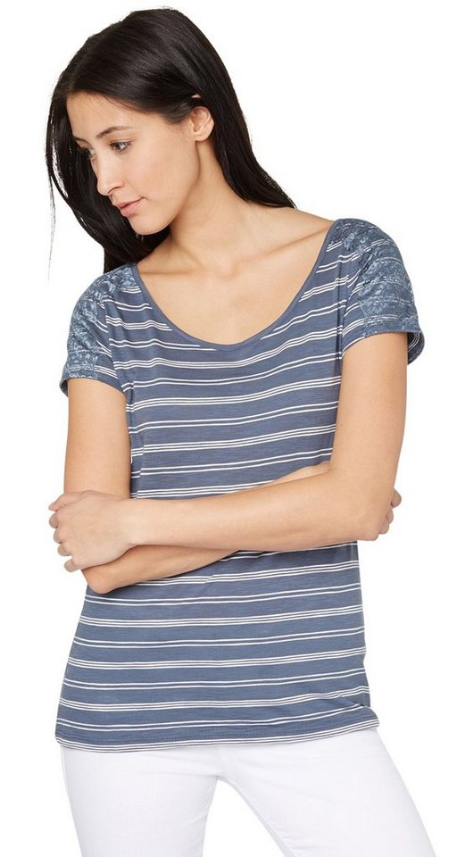 TOM TAILOR T-Shirt »lace stripe shirt« in steal blue