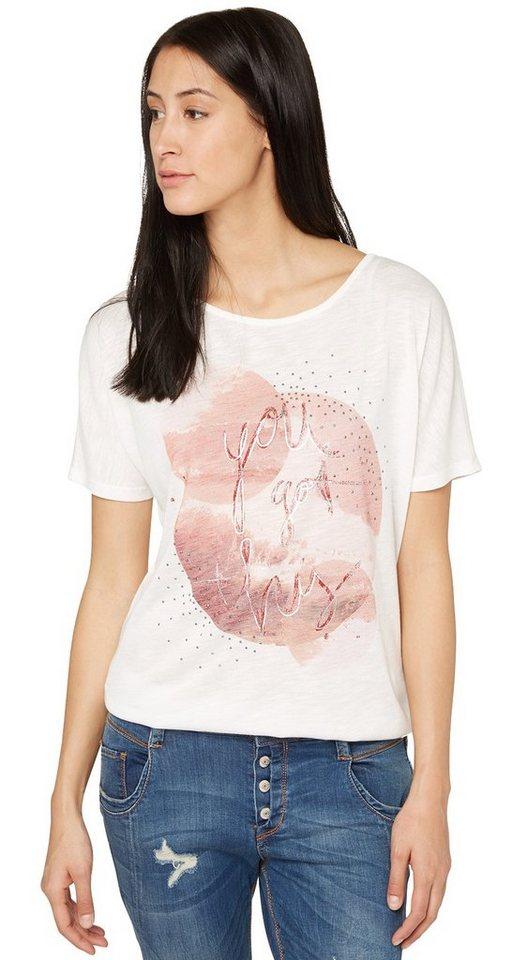 TOM TAILOR T-Shirt »Shirt mit Strass-Detail und Print« in whisper white