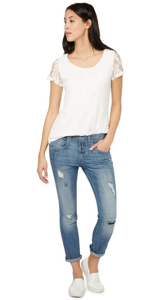 TOM TAILOR Jeans »Jeans mit Destroys in Ankle-Länge« in mid stone wash denim