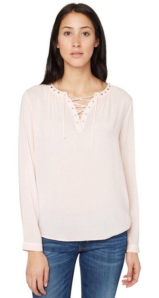 TOM TAILOR Bluse »leichte Bluse mit Schnürung« in cherry blossom pink
