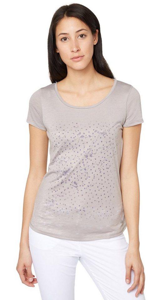 TOM TAILOR T-Shirt »enjoy print shirt« in light frost grey
