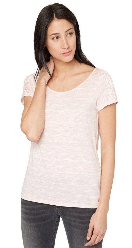 TOM TAILOR T-Shirt »Streifen-Shirt mit Spitzen-Detail« in cherry blossom pink