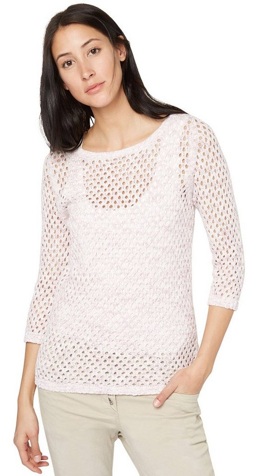 TOM TAILOR Pullover »Boucle-Pullover mit Loch-Struktur« in cherry blossom pink