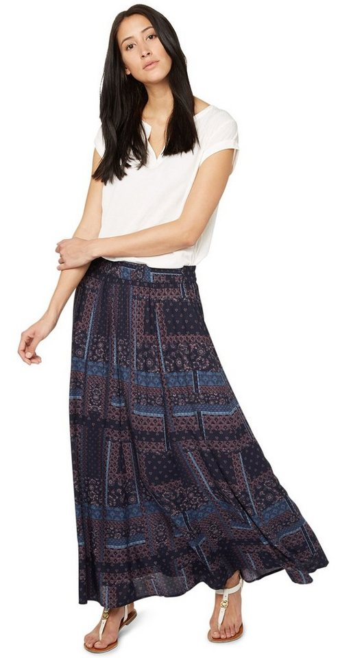 TOM TAILOR Rock »Maxi-Rock mit Mustermix-Print« in real navy blue