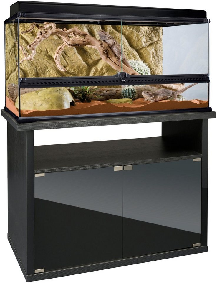 Vollglas-Terrarium-Set: 90/45/45 cm in schwarz