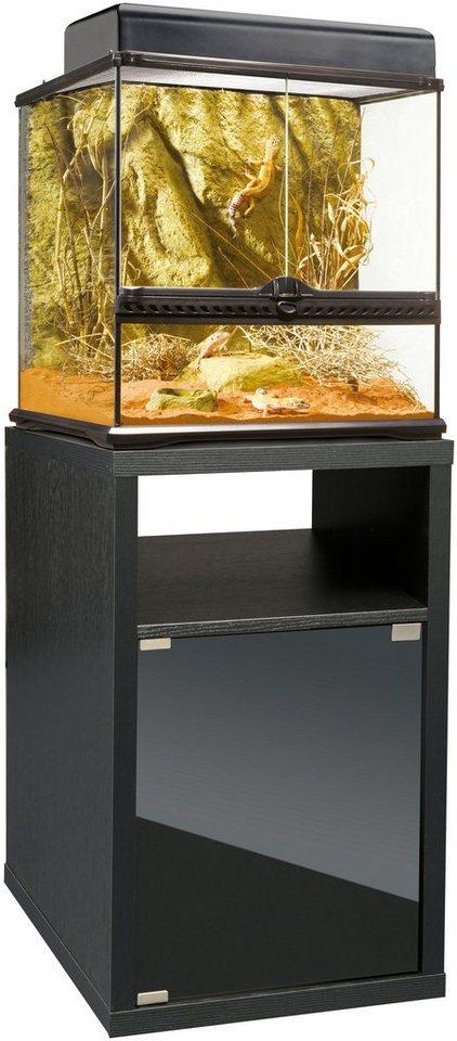 Vollglas-Terrarium-Set: 45/45/45 cm in schwarz