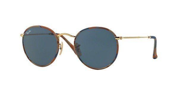 RAY-BAN Herren Sonnenbrille »ROUND METAL (M) RB3447JM« in 170/R5 - braun/blau