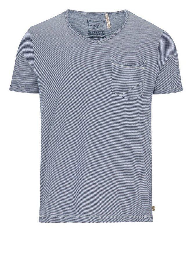Goodyear T-Shirt NICHOLASVILLE »NICHOLASVILLE« in Blue/White Stripes