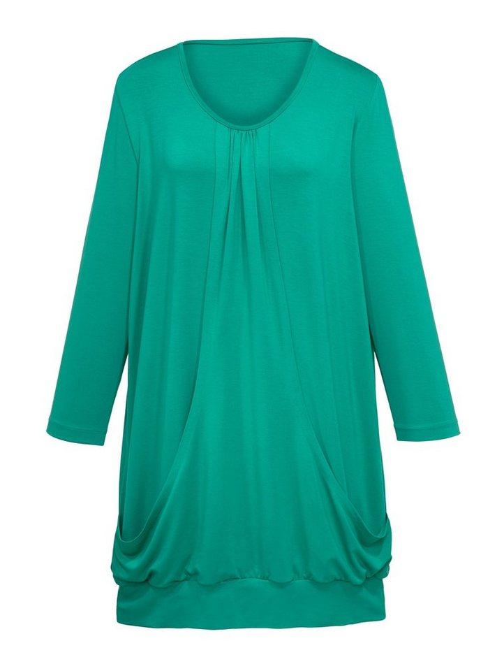 MIAMODA Longshirt mit Raffung am Ausschnitt in grün