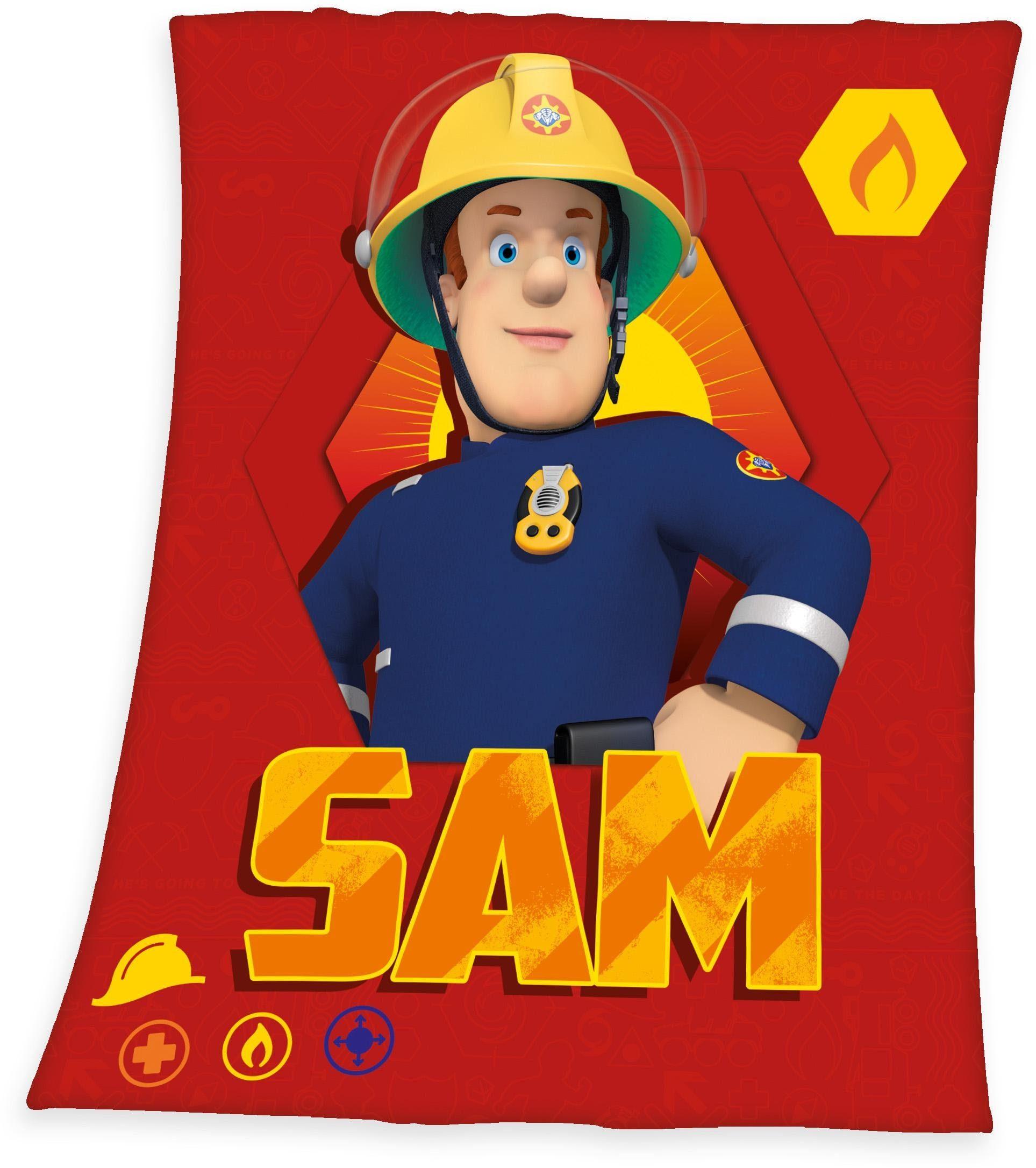 Kinderdecke »Sam«, Feuerwehrmann Sam, mit Portrait