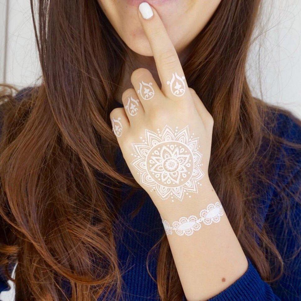 Schmuck-Tattoos, »Spitze«, Tattoos zum Aufkleben in Weiß