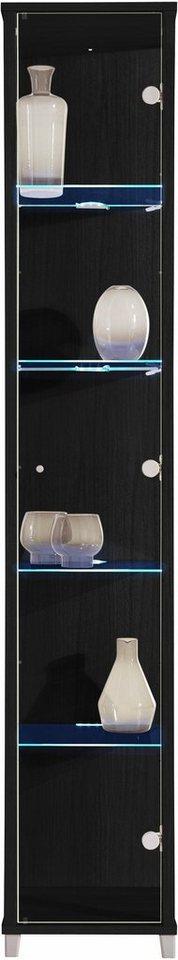 Vitrine, 1-türig, Höhe 172 cm, 4 Glasböden in schwarz