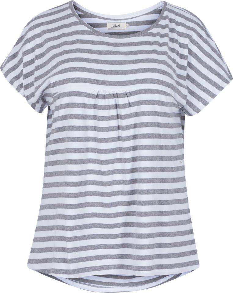 Zizzi T-Shirt in Bright White/Grey Mel.