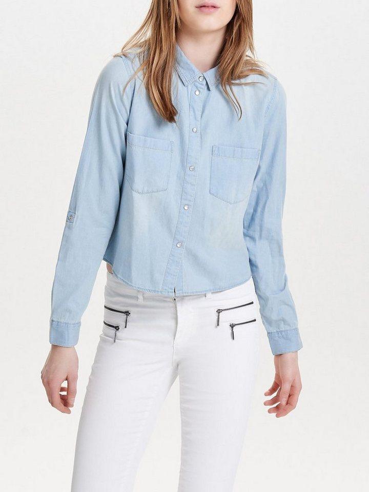 Only Kurz geschnittenes Jeanshemd in Light Blue Denim